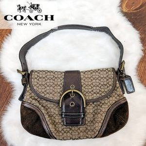 Coach • Brown Suede 'C' Logo Purse [Shoes]